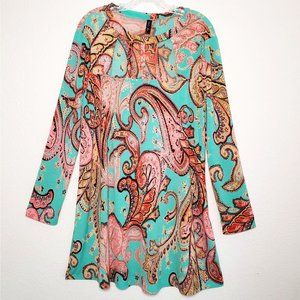 FASHION QUEEN XL Paisley Tunic Teal & Pink